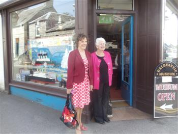 Esther Rantzen and Ada Johnston entering Dalbeattie Museum